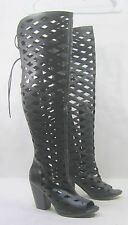 "black 4""HIGH BLOCK heel OPEN toe sexy summer Gladiator over the knee boot Size11"