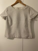 Talbots Ivory with Gray Stripes Short Sleeve Silk Blouse Lined Side Zip Size 14