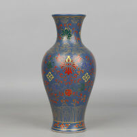 "10"" China antique Porcelain yongzheng blue famille rose painting flower vase"