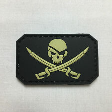 Small Pirate Skull - Morale patch badge pvc rubber hoop and loop burr tactical