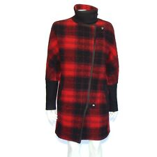 MADEWELL Red Black Buffalo Check Plaid Barn Pea Coat Jacket Womens size 2