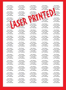 520/210 Personalised Self Adhesive Address Return Labels - Laser Printed BLACK