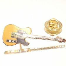 Vintage Miniature Tele Guitar Pin Yellow Music Gifts Jewelry Gold Plated