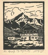 "Original-Holzschnitt ""Die Alpspitze"" signiert ""J. Schmidt"""