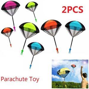 2Pcs Throwing Toy Parachute Man w/ Large Parachutes Umbrella Toy BQ