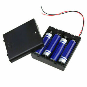 4x AA/AAA Battery Battery Holder Box DC Case ON/OFF Switch Cover w/ Wire Lead