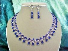 Cobalt Blue Woven Crystal Bead Collar Necklace Set. Handcrafted   A~K~N Design