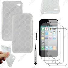 Coque SiliconeCercle Transparent Apple iPhone 4S 4+Mini Stylet+3 Film écran