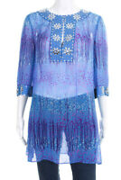 Calypso Saint Barth Womens V Neck Sheer Tunic Blouse Top Beaded Blue Pink Size M