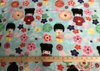 1.55Yds Asian Japanese Dolls Floral Mint Green Minky Fleece Fabric