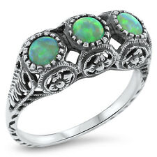 GREEN LAB FIRE OPAL ANTIQUE VICTORIAN STYLE 925 STERLING SILVER RING SIZE 8,#415
