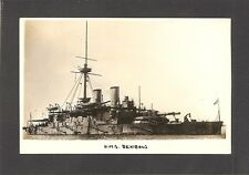 REAL-PHOTO POSTCARD:  H.M.S. BENBOW - BRITISH NAVY Pre-WW 1 BATTLESHIP - 1950s?