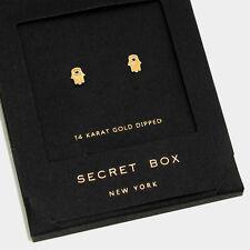 Hand Earrings Tiny Secret Gift Box 14K GOLD DIPPED Evil Eye Post Stud Hamsa