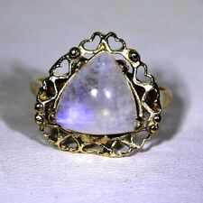 Retro Trillion Moonstone 9ct Yellow Gold ring K 1/2 ~ 5 1/2