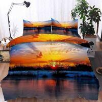 Gradual Orange Sky 3D Printing Duvet Quilt Doona Covers Pillow Case Bedding Sets