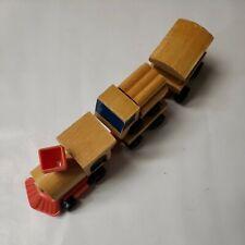 1972 Vintage Fisher Price Little People Wood Train Wind-Up Orange Black 5 Pieces