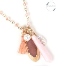 Boho Style Long Wire Wrapped Pink Quartz Druzy Beaded Gold Charm Tassel Necklace
