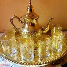 Moroccan Handmade Golden Tea Set Handmade TeaPot,Tea Tray,Set Of 6 Tea Cups