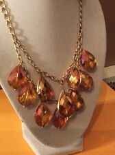 Kenneth Cole Peach Teardrop Gold Tone Double Row  Necklace $45 #100C