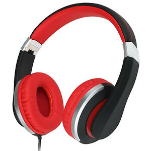 RockPapa Over Ear Adjustable Foldable Headsets Headphones f iPhone iPad iPod Red