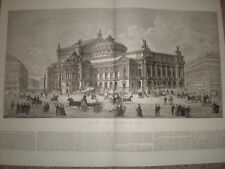 The New Grand Opera House at Paris France 1875 large old print and article