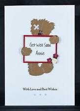 Personalised Handmade Get Well Soon Card by Bijou Crafts - Teddy Bear & Flowers