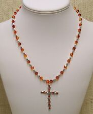 Sterling Silver and Orange Fire Opal Cross with Swarovski Crystals