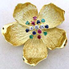 "1.5"" 14K Gold Flower Brooch Pin w/ Diamonds, Sapphires, Emeralds & Ruby  (15.8g)"