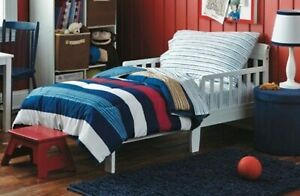 Circo Rugby Stripe 4 Piece Toddler Bedding Set Red White Blue & Tan ~ NEW