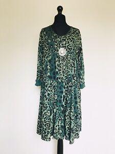 New Italian Lagenlook Green Leopard Print Peasant Dress - UK 12 14 16
