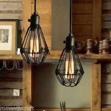 EDISON VINTAGE PENDANT LIGHT CHANDELIER Rustic Wire Cage Hanging Ceiling Lamp