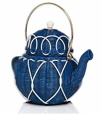 NEW KATE SPADE Down the Rabbit Hole TEAPOT Blue Wicker Tea Party Purse Bag NWT