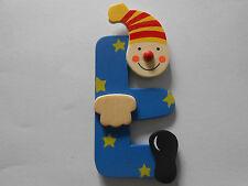 Lettre prenom de porte clown en bois E BLEU, décoration de porte jeu et jouets**
