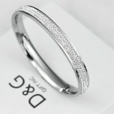 """DG 6.5"""" Women's Stainless Steel*Silver ICED-OUT,CZ Bangle Bracelet*Unisex + Box"""