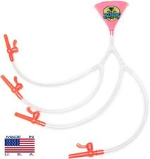 Quad Beer Bong - Pink Funnel - 4 PERSON BEER BONG - MADE IN USA