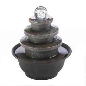 Black Polyresin Glass Plastic Tiered Round Tabletop Fountain Home Garden Decor
