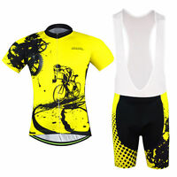 Men's Road Bike Clothing Sets Cycling Jersey (Bib) Shorts Cycling Kit Yellow