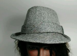 Concept One Black & White Harringbone Country Gent Fedora Hat - Size L/XL