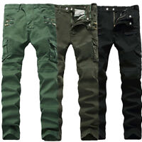 UK Mens Jeans Long Pants Denim Cargo Combat Slim Fit Biker Work Casual Trousers