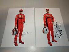 Leclerc & Vettel signed 2020 Ferrari F1 official portrait cards 15x21cm SF1000