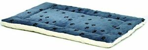 Reversible Paw Print Pet Bed in Blue / White Dog Bed Measures 40L x 26W x 3.5...