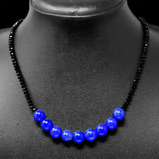 80.00 Cts Earth Mined Sapphire & Black Spinel Faceted Beads Necklace NK 55E75