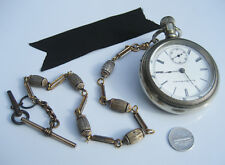 Antique Elgin Silver Pocket Watch & 14K White & Yellow Gold FIlled Chain Key