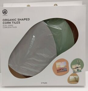 UBrands Organic Shaped Cork Tiles Dual-Sided New in box Pack of 3