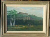 Vintage landscape with figures, signed, mystery artist 16 x 24