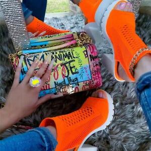 Block High Heels Peep Toe Ankle Boots Womens Slingback Sandals Platform Shoes Sz