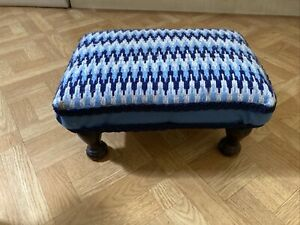 Small Embroidery Covered Footstool Perfect Restoration Project Fabric Removable