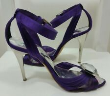 KAREN MILLEN Womens Sandal 37 4 Ankle Strap Purple Pointed High Heel Embellished