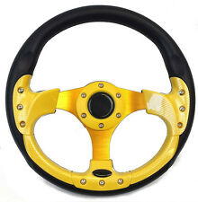 "Golf Cart Steering Wheel 12 1/2"" Black and Yellow - Karts, UTV, Boat, Lawnmowers"