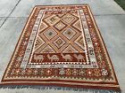 7X9 Feet Handmade vintage Uzbek Maimana Vegetable Dye Natural Colors Wool Kellim